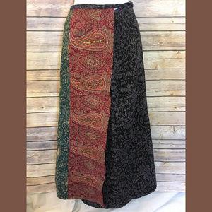 Boho/Bali Full Length Wrap Around Paisley Skirt
